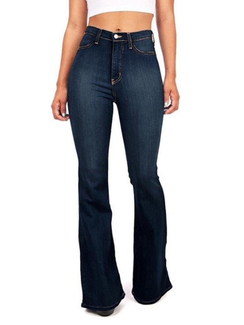 Ericdress Worn Bellbottoms Slim High Waist Jeans