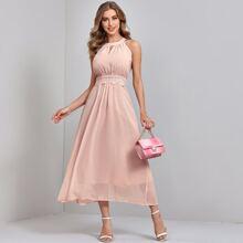 Chiffon Kleid mit Kontrast Spitze und Schluesselloch Kragen