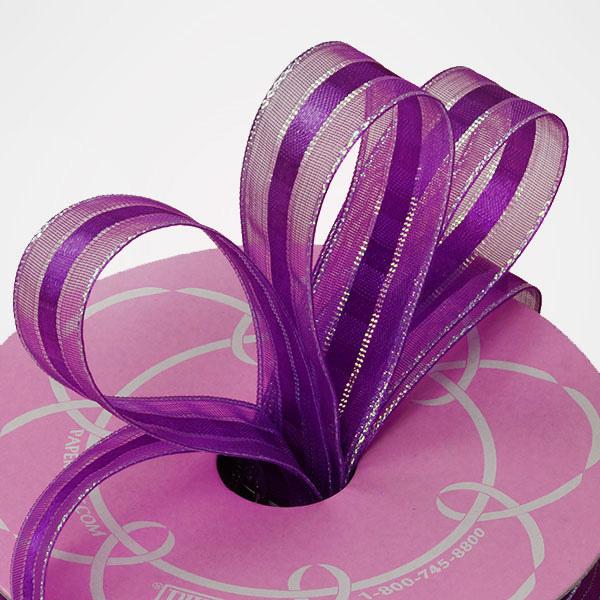5/8 X 25 Yards Sheer Organza Purple Mason Center Satin/Sheer Ribbon by Ribbons.com