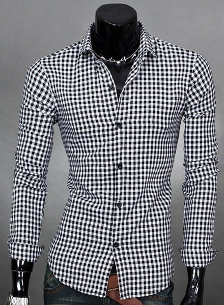 Turn-Down Collar Plaid Print Long Sleeve Men's Shirt