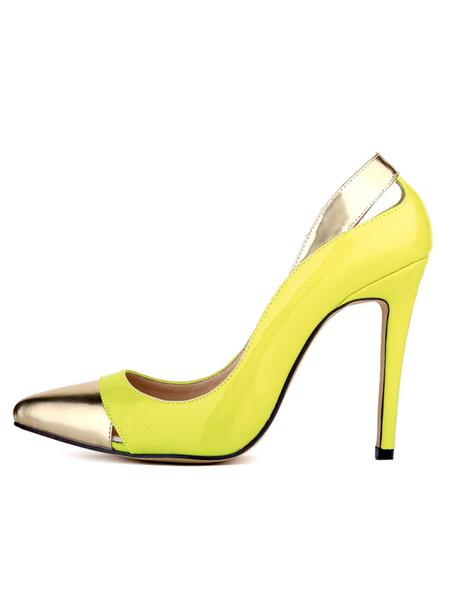 Milanoo Zapatos de tacon de puntera puntiaguada de PU de color-blocking de tacon de stiletto