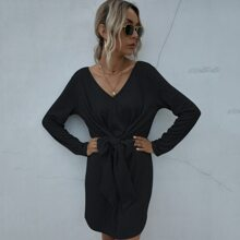 Solid Tie Front Knit Dress