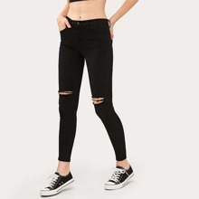 High-Waisted Ripped Skinny Jeans