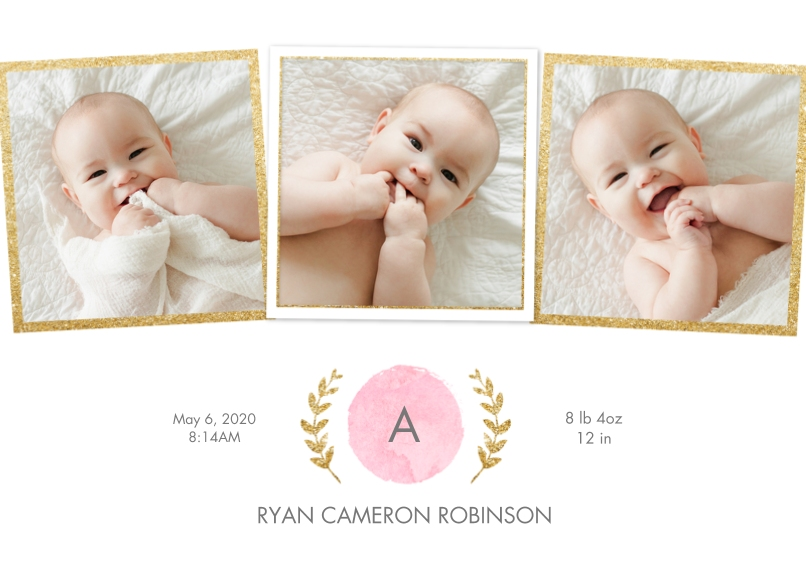 Baby Announcements Flat Matte Photo Paper Cards with Envelopes, 5x7, Card & Stationery -Baby Initial Leaves by Tumbalina
