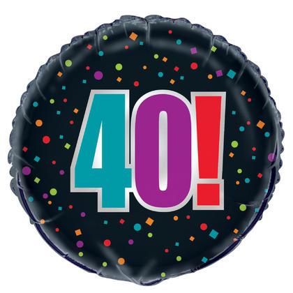 Birthday Cheer Age 40 Round Foil Balloon 18