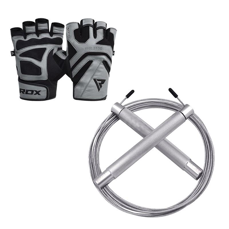 RDX S12 Gants de Musculation and C4 Corde a Sauter Moyenne Gris