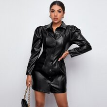 Puff Sleeve PU Leather Shirt Dress