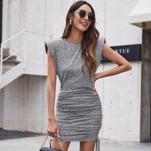Shoulder Pad Drawstring Side Dress