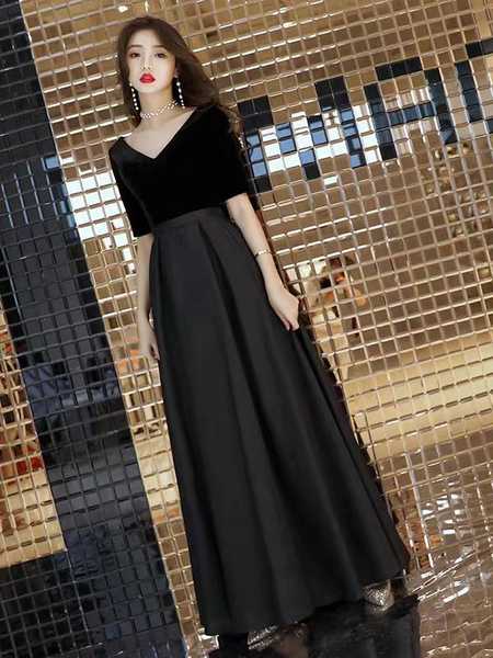 Milanoo Vestidos de noche negros Velvet Satin Patchwork Media manga Una linea Vestidos formales