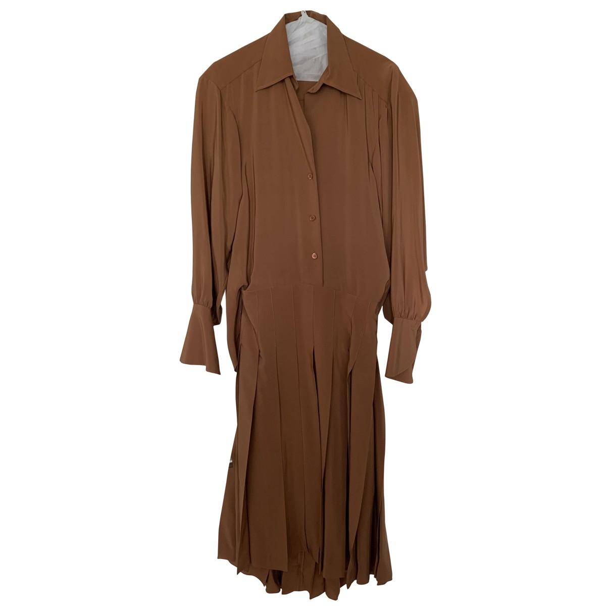 Chloe - Robe   pour femme en soie - marron
