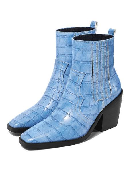 Milanoo Womens Ankle Boots Square Toe Chunky Heel Crocodile Print 3.1 Booties
