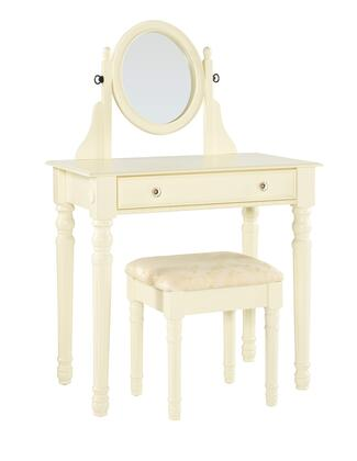 58010WHT-01-KD-U Lorraine Collection Vanity Set with Traditional Style  Medium-Density Fiberboard (MDF) and Polyester Upholstery in White