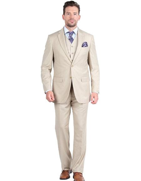 Giorgio Fiorelli Mens 1 Breasted 2Button 3Piece DoubleVents Beige Suit