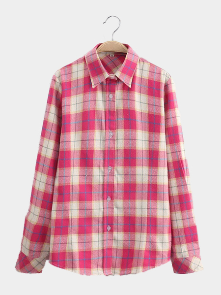 Yoins Bright-coloured Grid Pattern Shirt