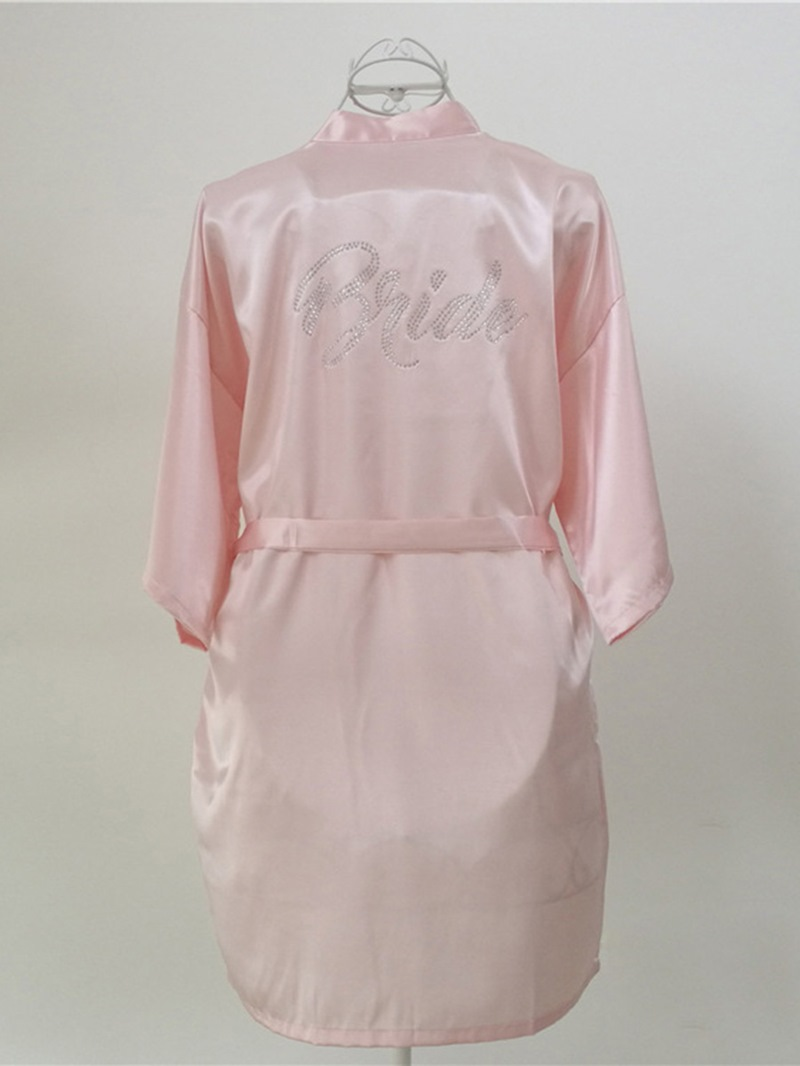 Ericdress Satin Lace-Up Loose Thin Print Simple Mid-Length Night Robe