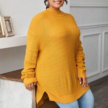 Pullover mit Stehkragen, sehr tief angesetzter Schulterpartie und Schlitz
