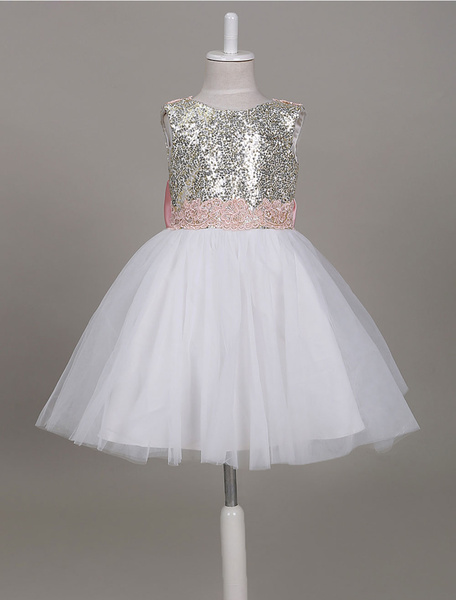 Milanoo Flower Girl Dresses Sequin Backless Bows Short Tutu Dress Light Gold Knee Length Party Dresses For Girls
