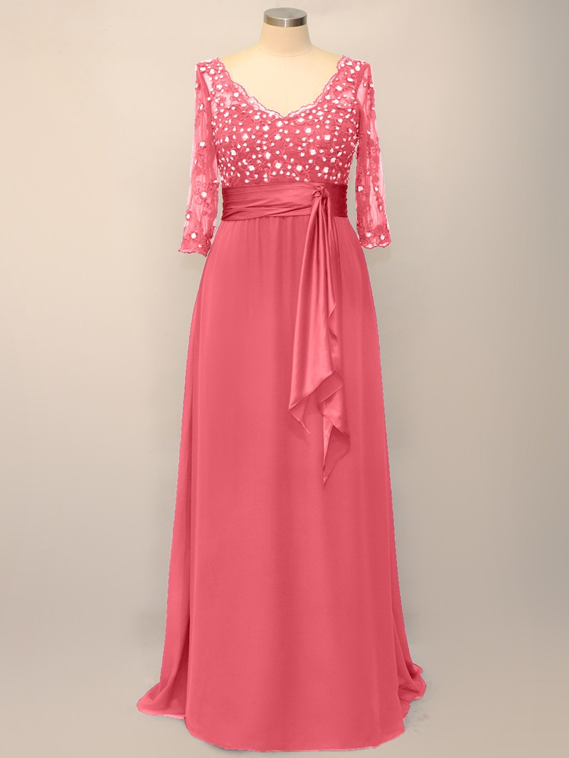 Ericdress Lace 3/4-Sleeves Plus Size Mother of the Bride Dress