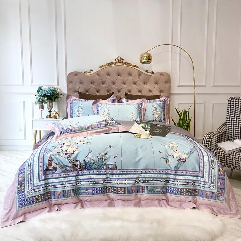 European Style Duvet Cover Set Floral Reactive Printing Four-Piece Set Cotton Bedding Sets