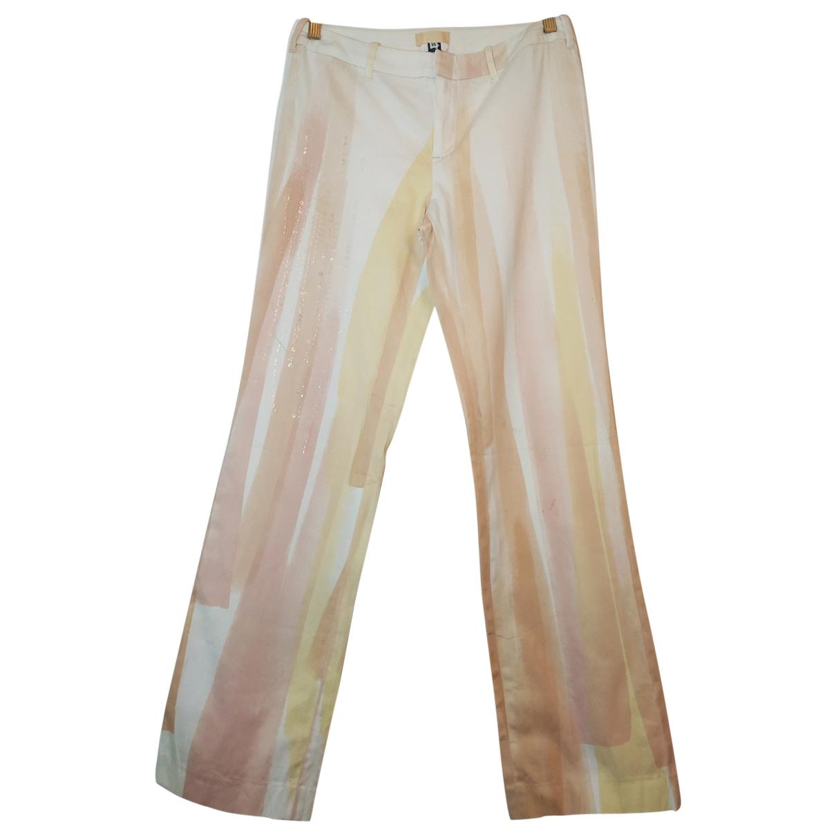 Gianfranco Ferré \N Beige Cotton Trousers for Women 44 IT