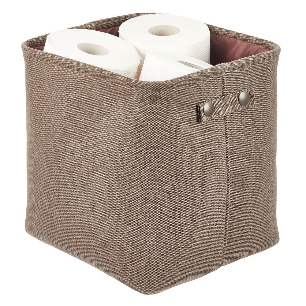 Small Fabric Bathroom Storage Bin - Coated Interior in Light Pink, 10.5