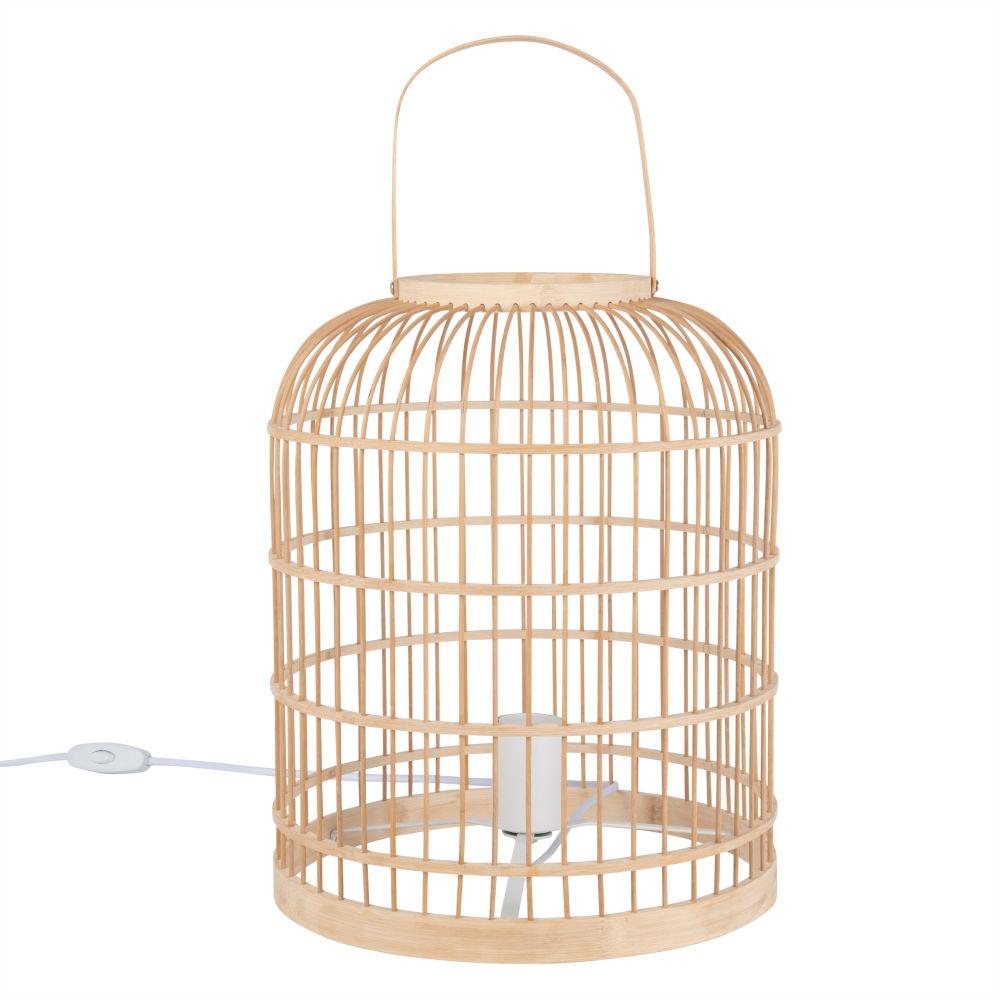 Lampe in Kaefigform, beiger Bambus und weisses Metall