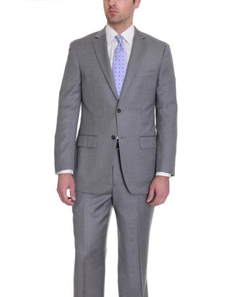 Mens Gray Wool 2 Button Single Fit Suit Flat Front Pants