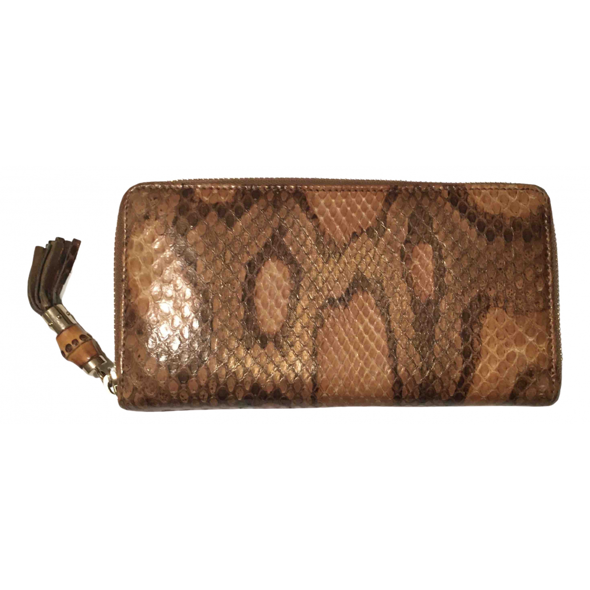 Gucci - Portefeuille   pour femme en cuir - marron