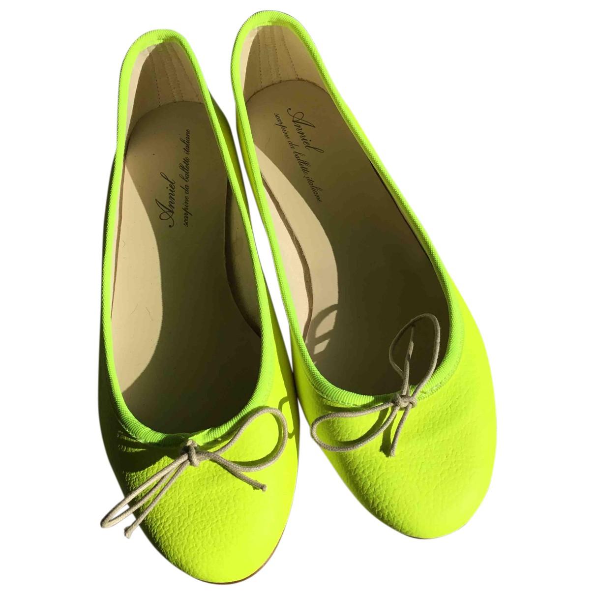 Anniel N Yellow Leather Ballet flats for Women 38 EU