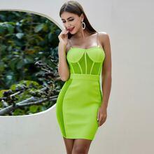 Sesidy Neon gruenes Bandage Kleid mit Netzeinsatz und Kette