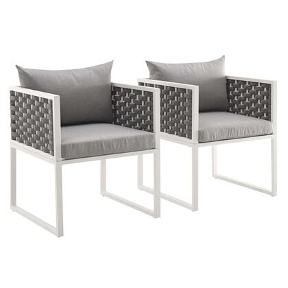 Stance Collection EEI-3183-WHI-GRY-SET Set of 2 Dining Armchair Outdoor Patio Aluminum in White Grey