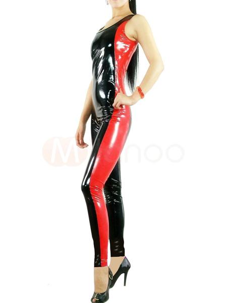 Milanoo Disfraz Halloween Negro PVC Sin Mangas Catsuit Unisex Mono Disfraz Halloween
