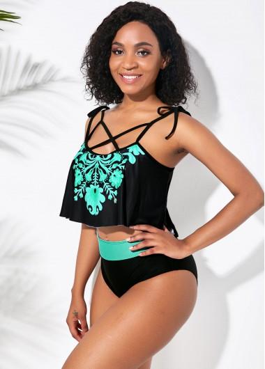Sexy Bikinis Tie Shoulder Tribal Print Ruffle Hem Bikini Set - XS