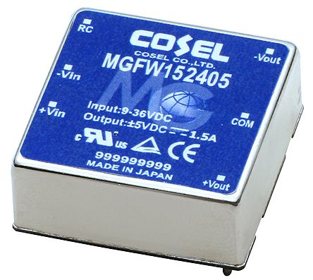 Cosel MGFW 15W Isolated DC-DC Converter PCB Mount, Voltage in 9 → 36 V dc, Voltage out ±15V dc