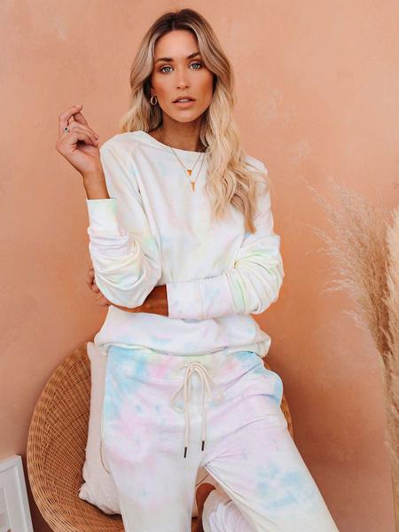 Milanoo Women\'s Loungewear 2-Piece Pink Long Sleeve Jewel Neck Polyester Cotton Outfit Home Wear