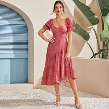 Sweetheart Neck All Over Print A-line Dress