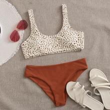 Bikini Badeanzug mit Dalmatiner Muster und U-Kragen