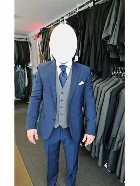 Navy Blue Suit With Grey Vest Vested 3 Piece Wool suit