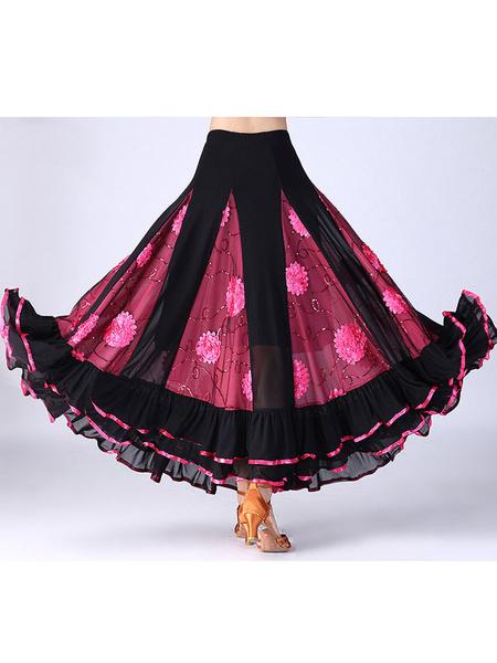 Milanoo Disfraz Halloween Falda de traje de baile de salon Bañadores de baile floral de mujer largo Carnaval Halloween