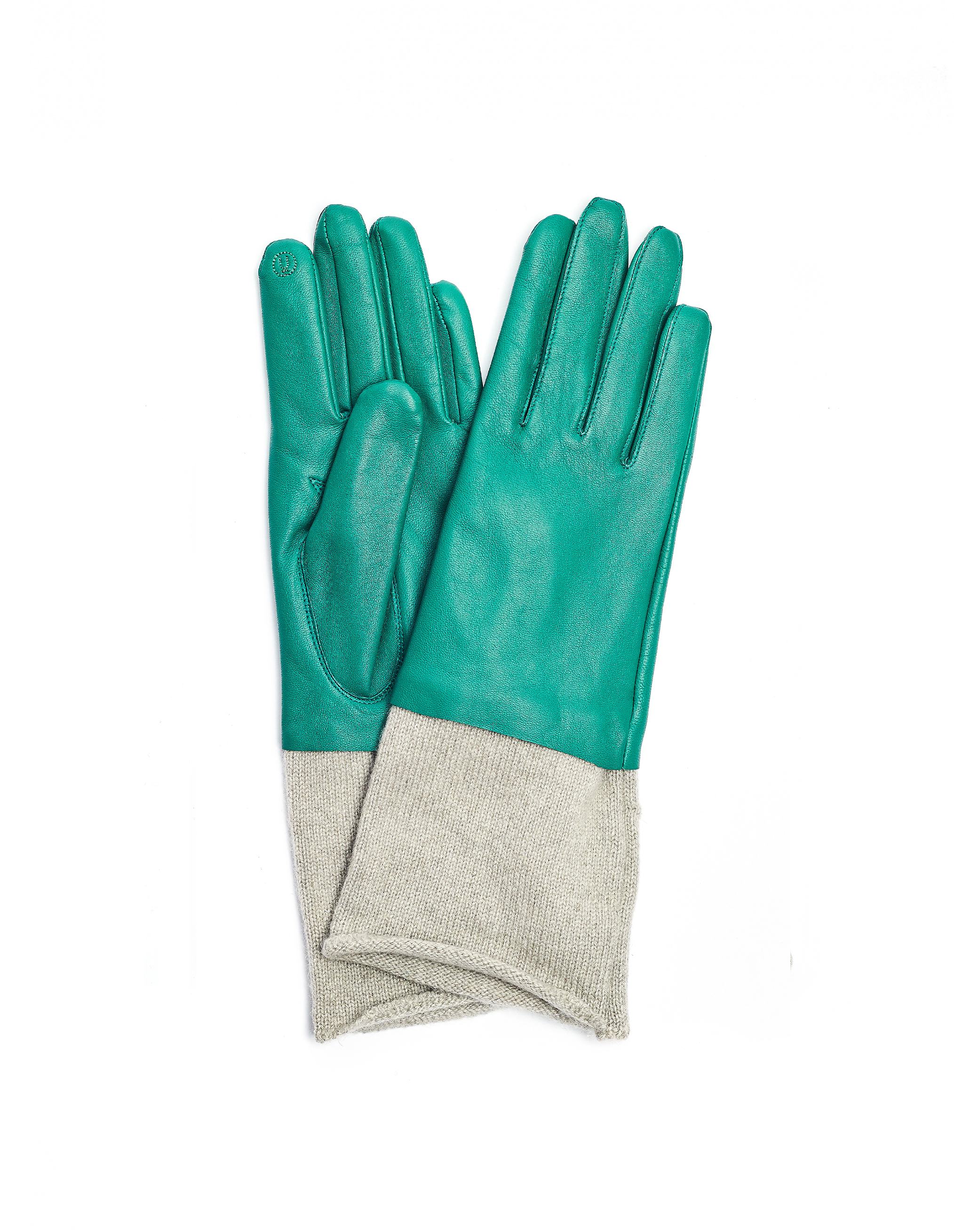 Undercover Green Leather & Cashmere Gloves