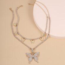 2 Stuecke Halskette mit Schmetterling und Strass Dekor