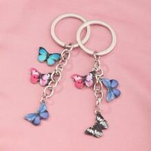 2 Stuecke Schluesselbund mit Schmetterling Anhaenger