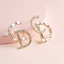 Rhinestone Letter Stud Earrings