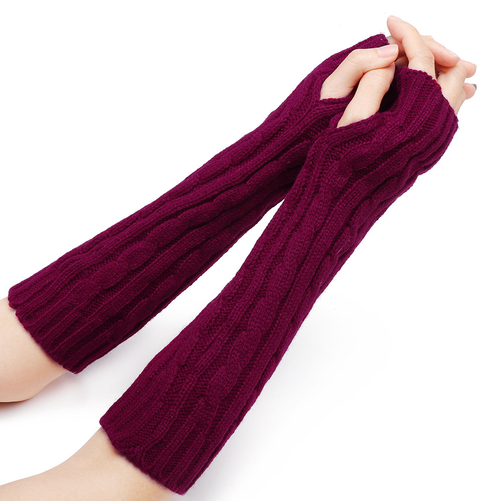 32cm Women Winter Knitting Solid Color Fingerless Sleeve Casual Warm Half Finger Gloves