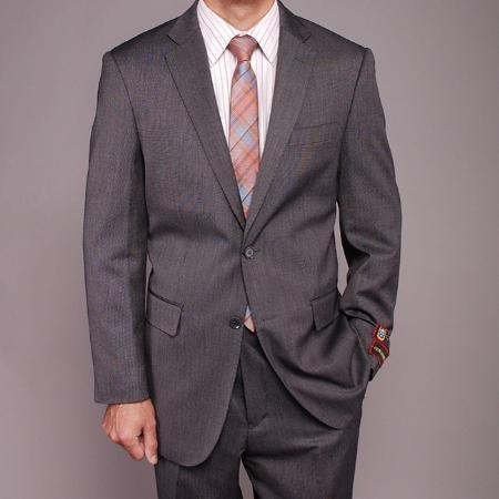 2 Button Gray Teakweave Suit Mens Cheap