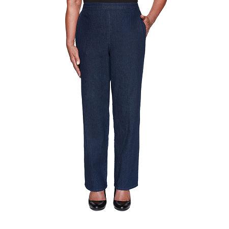 Alfred Dunner Hunter Mountain Womens Straight Pull-On Pants, 10 Petite Short , Blue