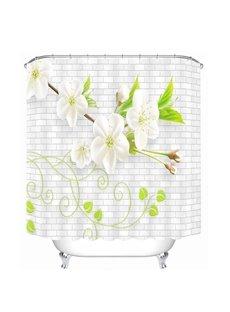 Delicate White Flowers 3D Printed Bathroom Waterproof Shower Curtain