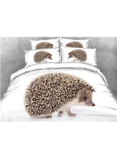 Hedgehog Printed Cotton 4-Piece White 3D Bedding Sets/Duvet Covers