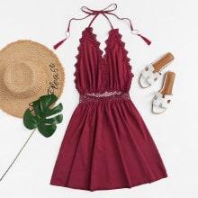 Kleid mit Guipure Spitze, Fransen und Neckholder