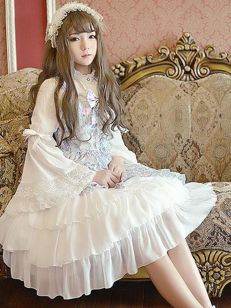 Milanoo Sweet Lolita Dress JSK Pink Printed Strappy Sleeveless Tunic Ruffle Chiffon Lolita Jumper Skirt With Bow Original Design